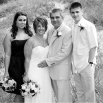 Karen, Louie on their wedding day with her children Joelle & Justin