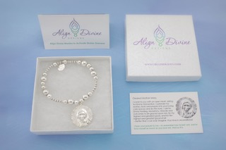 Mary Charm Silver On Bracelet 1 With Mantra Card And Business Card