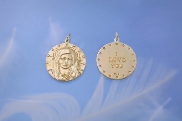 Mother Mary Gold Charm Both Sides