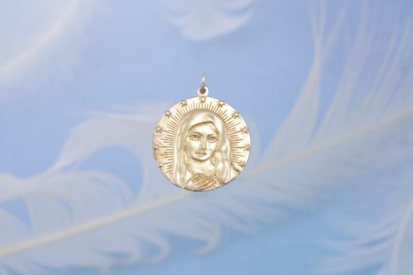 Mother Mary Gold Front Charm