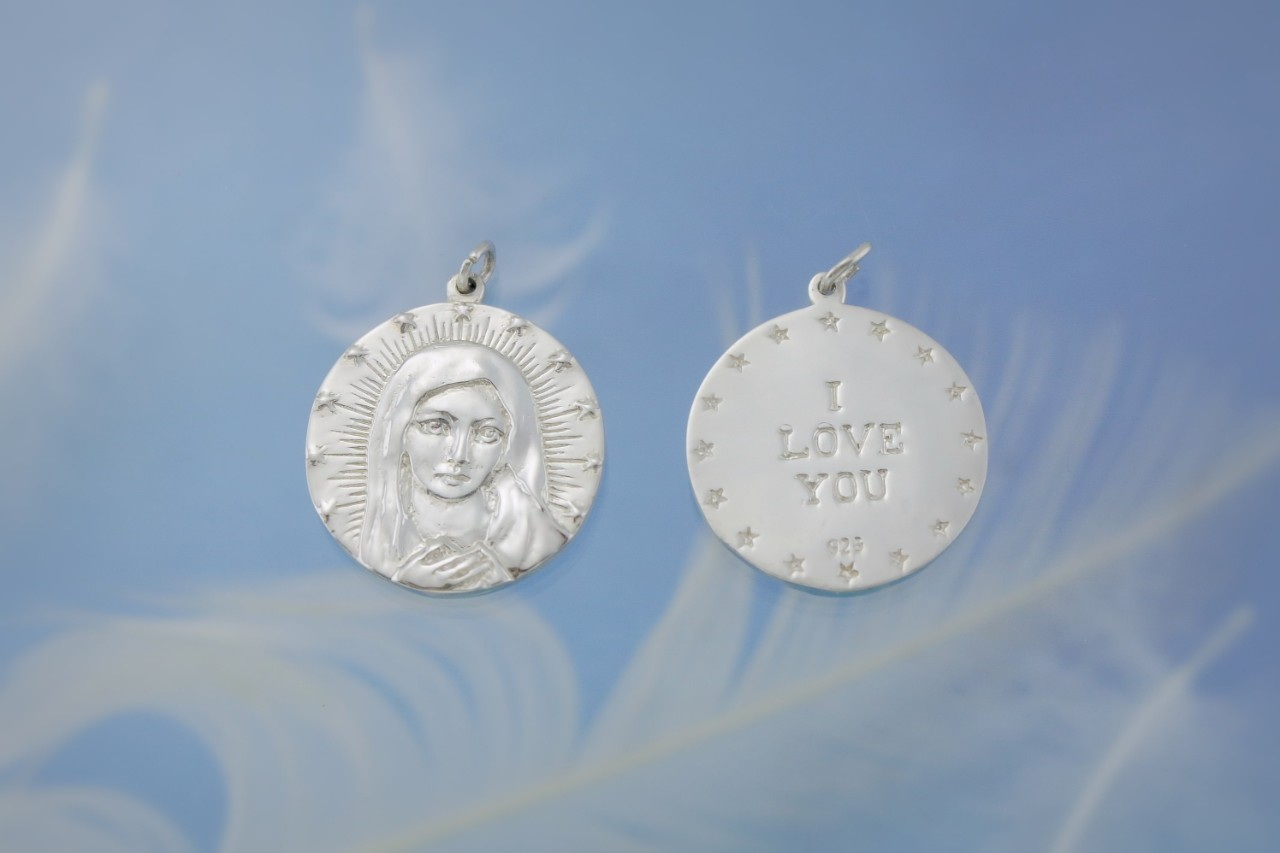 Mother Mary Silver Both Sides