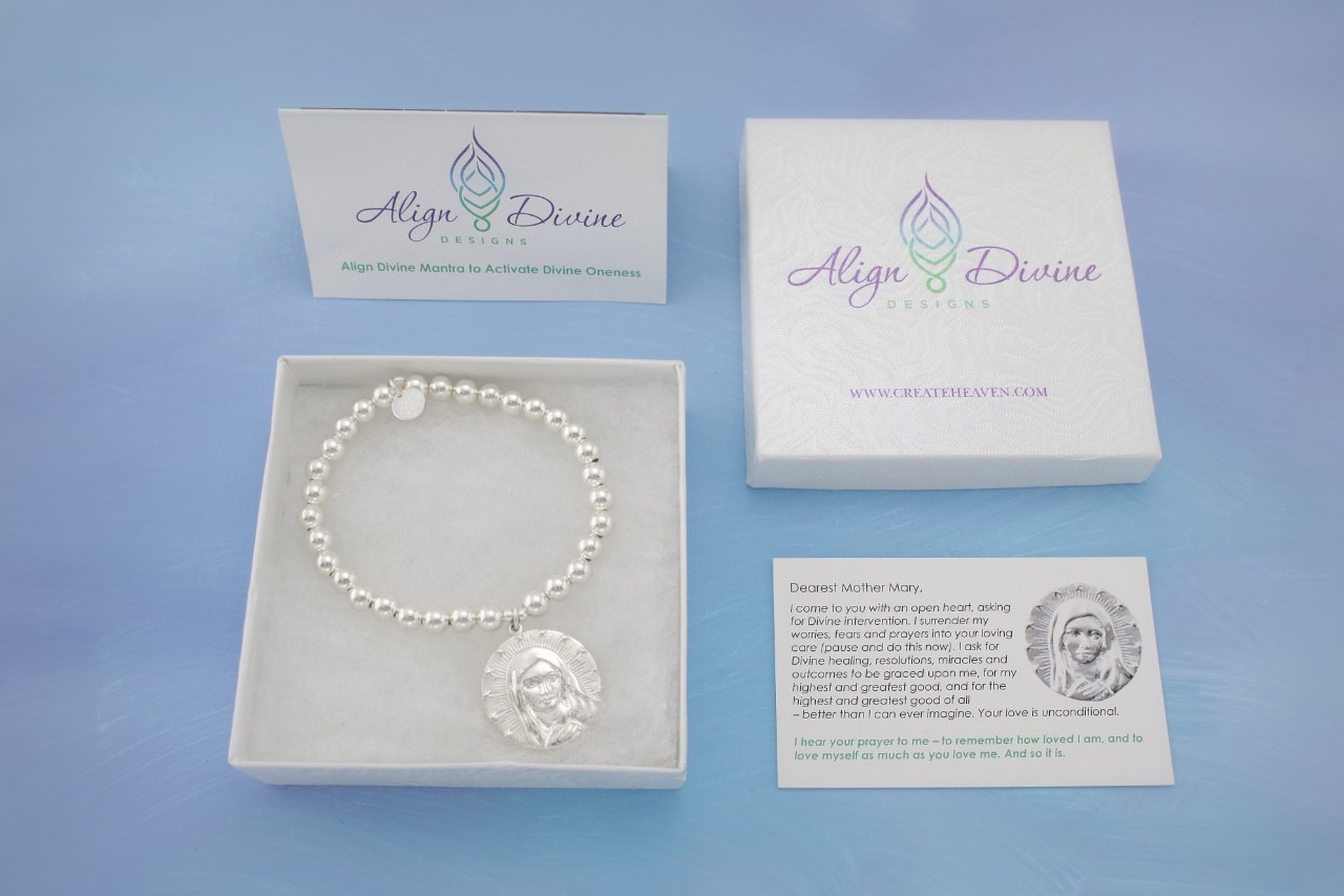 Mother Mary Silver Medium Ball Bracelet