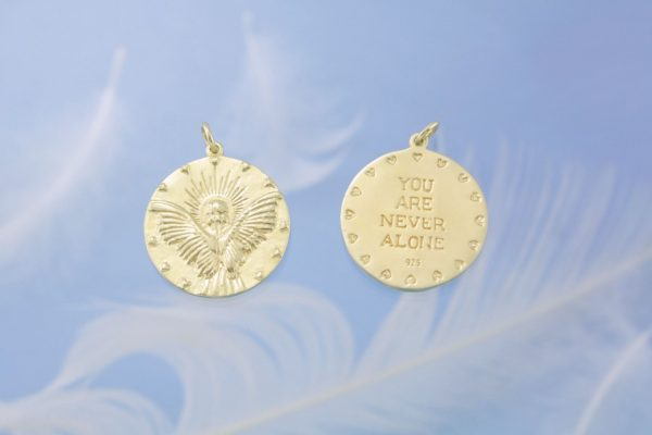 Guardian Angel Gold Charm Both Sides