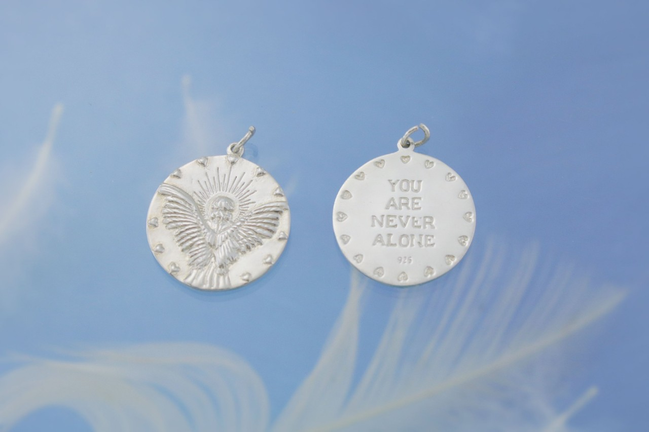 Guardian Angel Silver Charm Both Sides