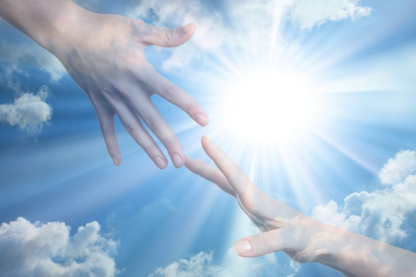 11595258 - hope of peace. hands on the sunlight background